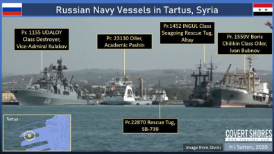 Russian Navy Seen Escorting Iranian Tankers Bound for Syria
